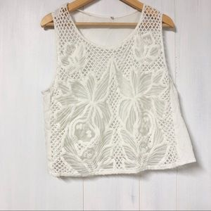 White Lace Short Sleeve Crop Top